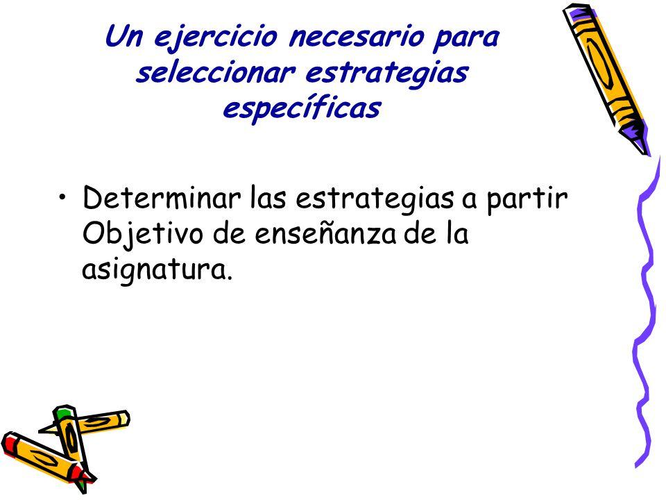 Un ejercicio necesario para seleccionar estrategias específicas Determinar las estrategias a partir Objetivo de enseñanza de la asignatura.