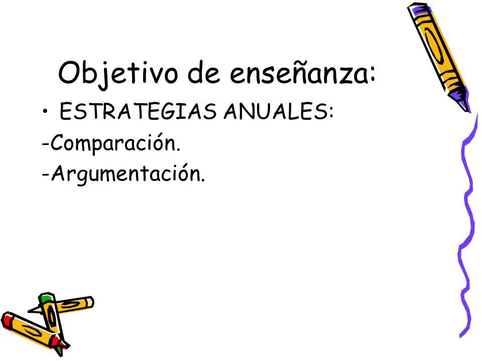 Objetivo de enseñanza: ESTRATEGIAS ANUALES: -Comparación. -Argumentación.