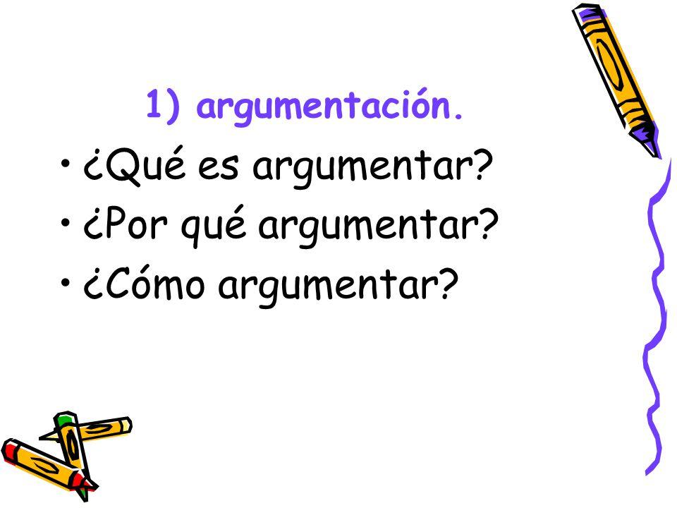1) argumentación. ¿Qué es argumentar? ¿Por qué argumentar? ¿Cómo argumentar?
