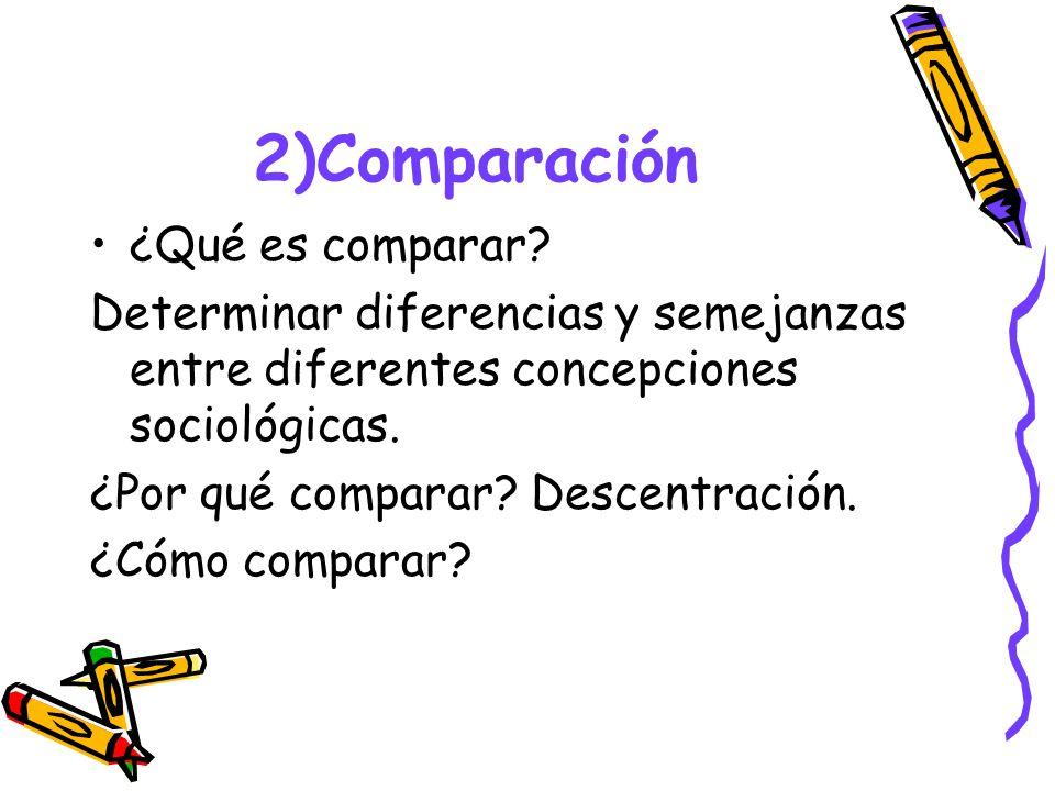 2)Comparación ¿Qué es comparar? Determinar diferencias y semejanzas entre diferentes concepciones sociológicas. ¿Por qué comparar? Descentración. ¿Cóm