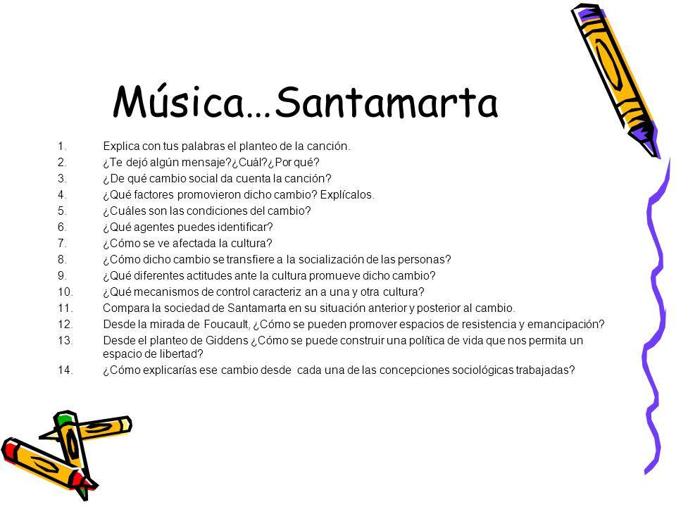 Música…Santamarta 1.Explica con tus palabras el planteo de la canción. 2.¿Te dejó algún mensaje?¿Cuál?¿Por qué? 3.¿De qué cambio social da cuenta la c