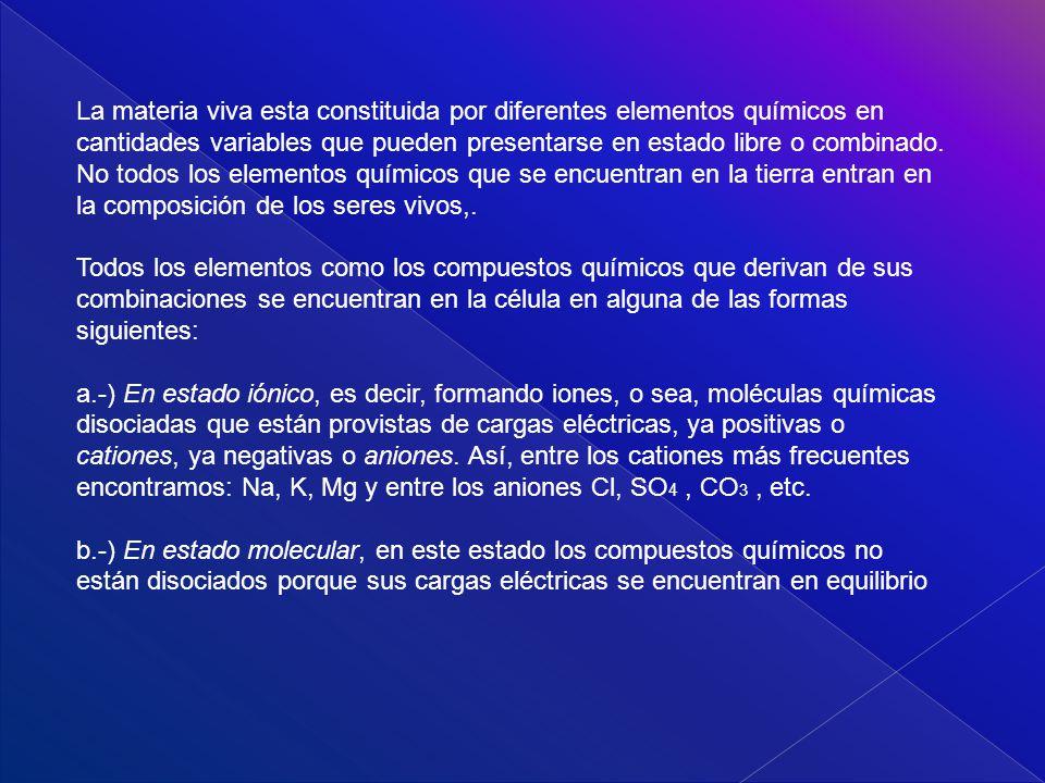 LOS BIOELEMENTOS La materia viva presenta unas características y propiedades distintas a las de la materia inerte.