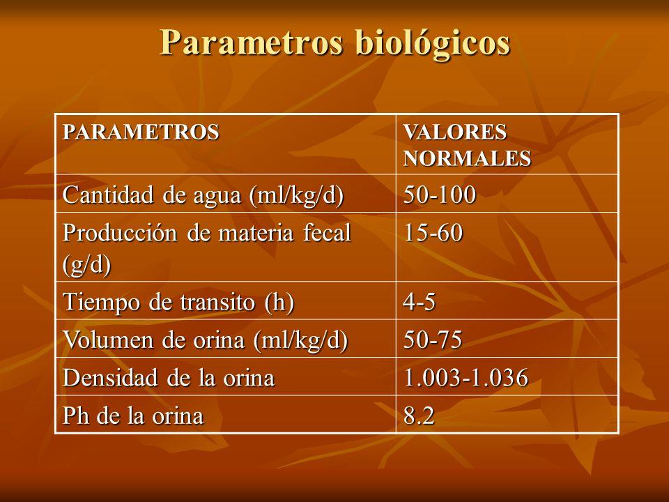 Parametros biológicos PARAMETROS VALORES NORMALES Cantidad de agua (ml/kg/d) 50-100 Producción de materia fecal (g/d) 15-60 Tiempo de transito (h) 4-5