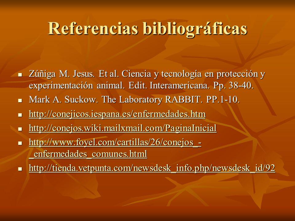 Referencias bibliográficas Zúñiga M. Jesus. Et al. Ciencia y tecnología en protección y experimentación animal. Edit. Interamericana. Pp. 38-40. Zúñig