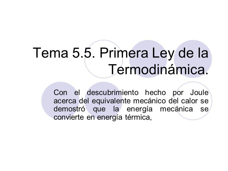 Tema 5.5.Primera Ley de la Termodinámica.
