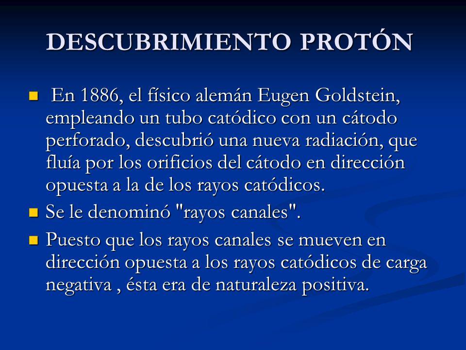 DESCUBRIMIENTO PROTÓN En 1886, el físico alemán Eugen Goldstein, empleando un tubo catódico con un cátodo perforado, descubrió una nueva radiación, que fluía por los orificios del cátodo en dirección opuesta a la de los rayos catódicos.