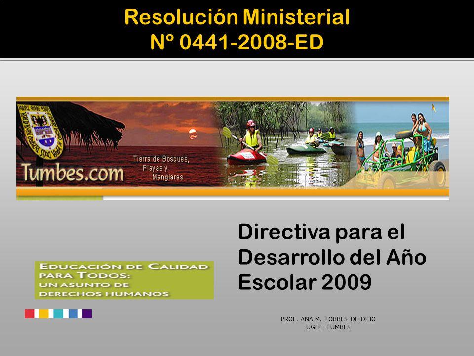 Resolución Ministerial Nº 0441-2008-ED Directiva para el Desarrollo del Año Escolar 2009 PROF. ANA M. TORRES DE DEJO UGEL- TUMBES