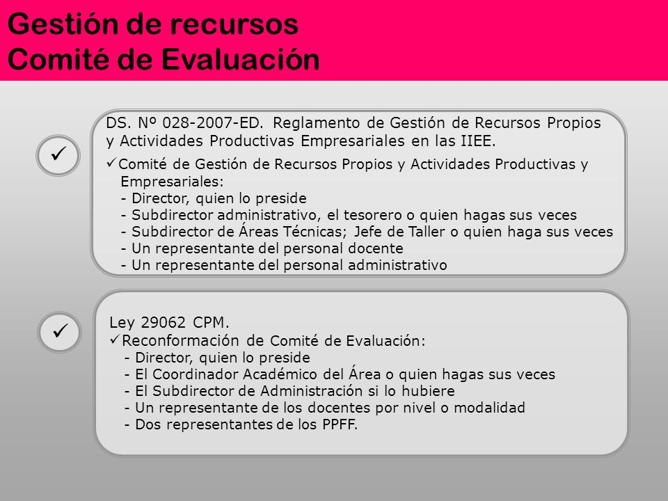 Gestión de recursos Comité de Evaluación DS. Nº 028-2007-ED. Reglamento de Gestión de Recursos Propios y Actividades Productivas Empresariales en las