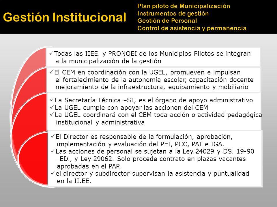 Gestión Institucional Plan piloto de Municipalización Instrumentos de gestión Gestión de Personal Control de asistencia y permanencia Todas las IIEE.