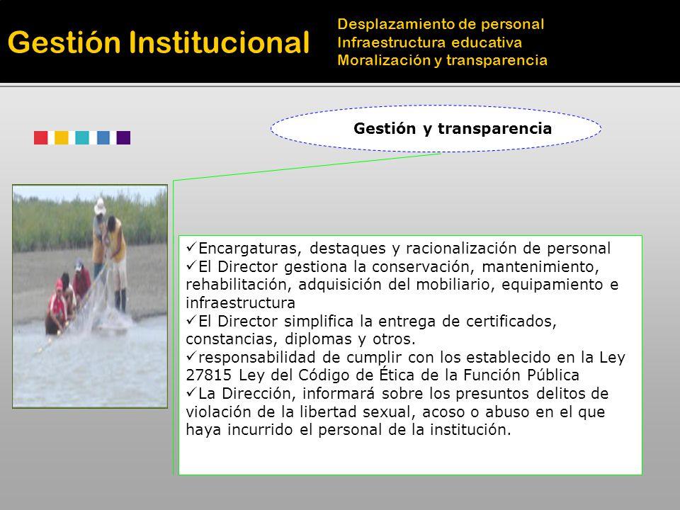 Gestión y transparencia Encargaturas, destaques y racionalización de personal El Director gestiona la conservación, mantenimiento, rehabilitación, adq