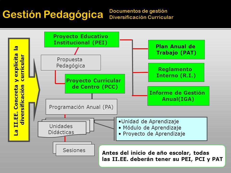 Programación Anual (PA) Proyecto Curricular de Centro (PCC) Propuesta Pedagógica Proyecto Educativo Institucional (PEI) La II.EE. Concreta y explicita
