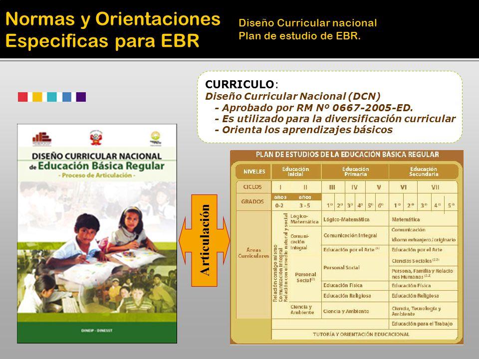 Normas y Orientaciones Especificas para EBR Diseño Curricular nacional Plan de estudio de EBR. CURRICULO: Diseño Curricular Nacional (DCN) - Aprobado