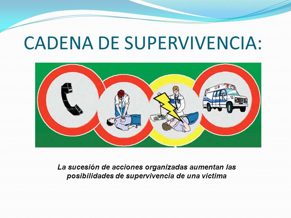 CADENA DE SUPERVIVENCIA: La sucesión de acciones organizadas aumentan las posibilidades de supervivencia de una victima
