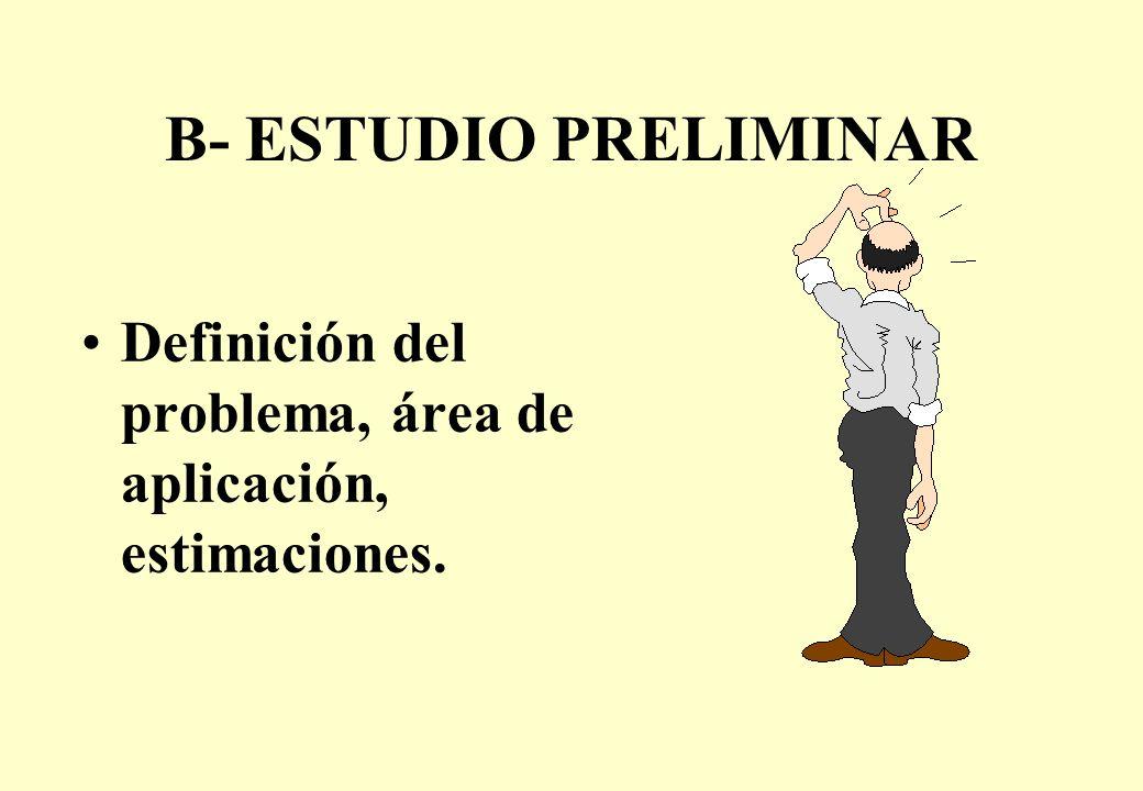 B- ESTUDIO PRELIMINAR Definición del problema, área de aplicación, estimaciones.