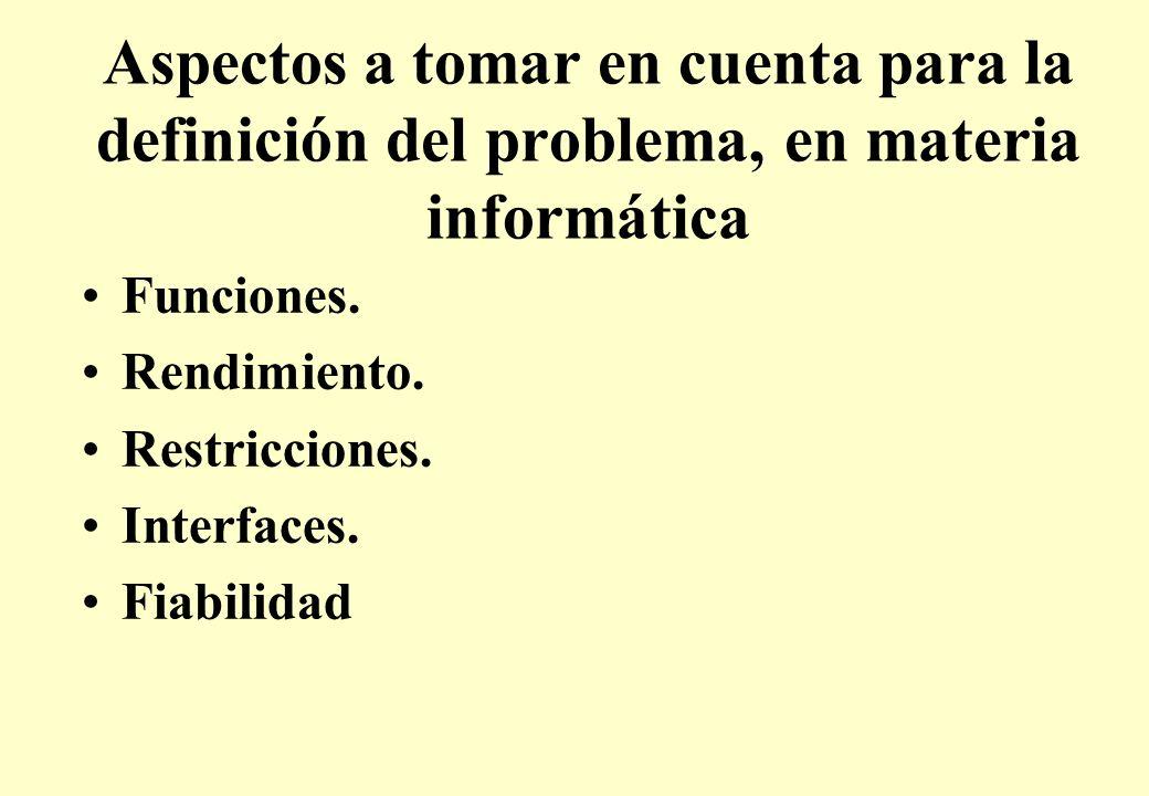 Aspectos a tomar en cuenta para la definición del problema, en materia informática Funciones.