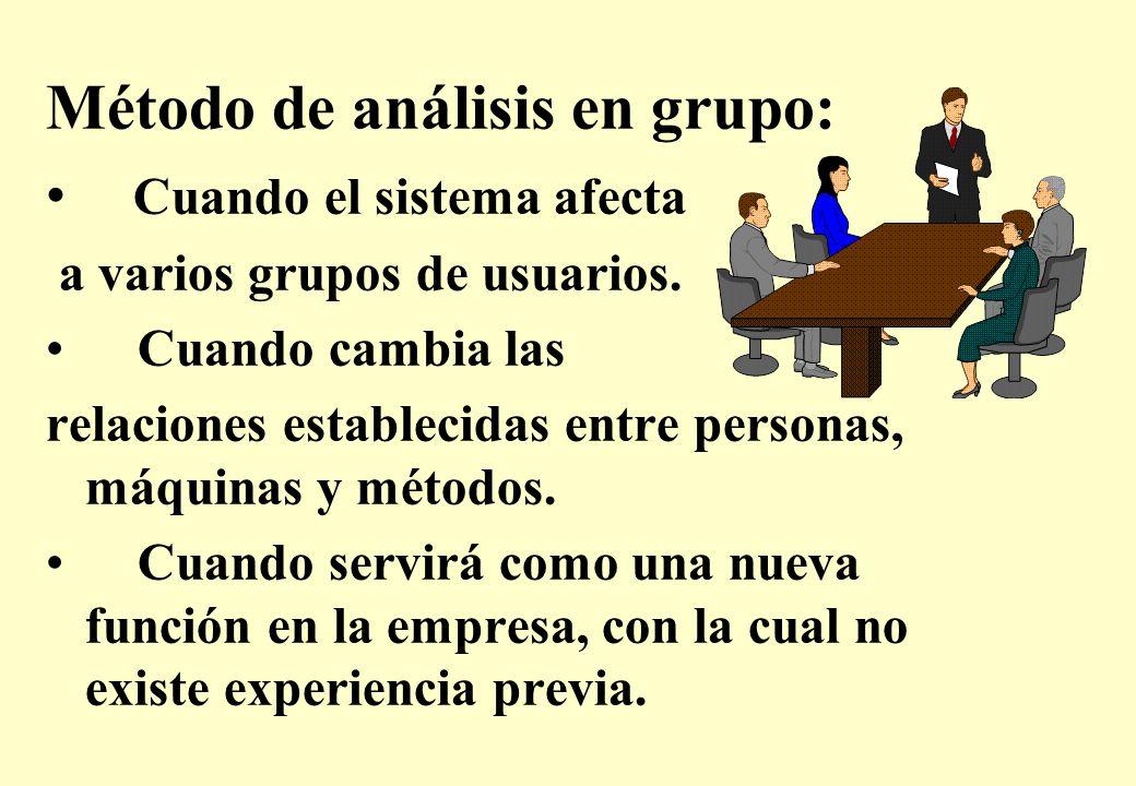 Método de análisis en grupo: Cuando el sistema afecta a varios grupos de usuarios.
