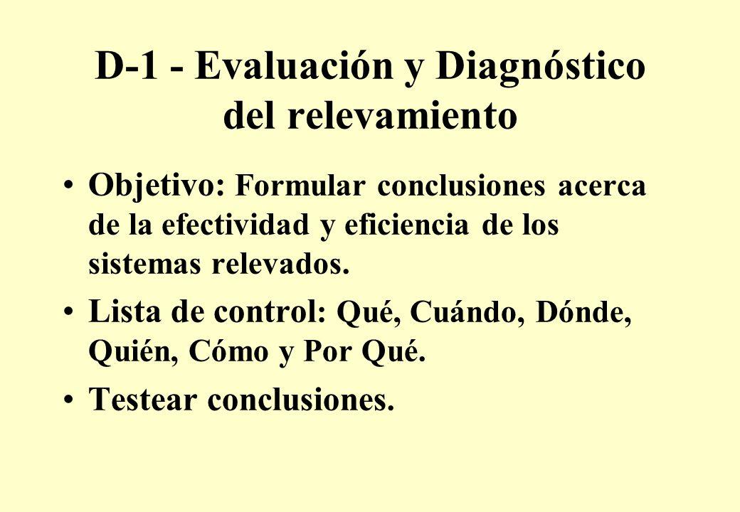 D-1 - Evaluación y Diagnóstico del relevamiento Objetivo: Formular conclusiones acerca de la efectividad y eficiencia de los sistemas relevados.