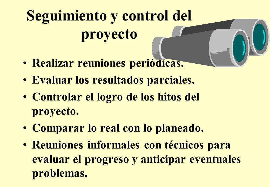 Seguimiento y control del proyecto Realizar reuniones periódicas.