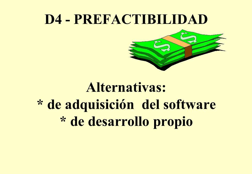 D4 - PREFACTIBILIDAD Alternativas: * de adquisición del software * de desarrollo propio