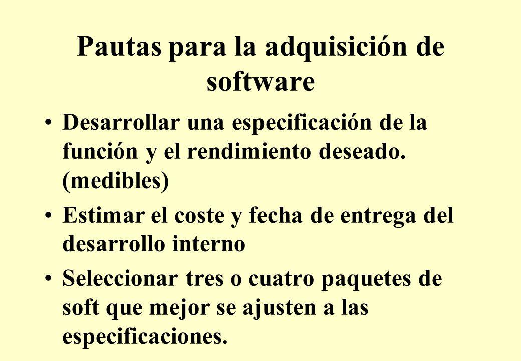 Pautas para la adquisición de software Desarrollar una especificación de la función y el rendimiento deseado.