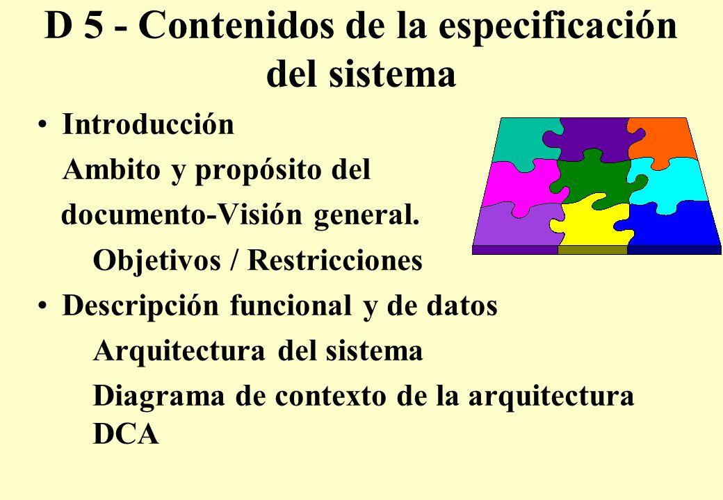 D 5 - Contenidos de la especificación del sistema Introducción Ambito y propósito del documento-Visión general.