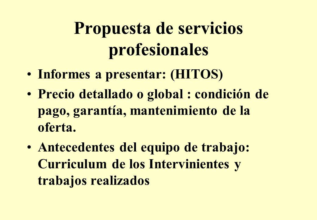 Propuesta de servicios profesionales Informes a presentar: (HITOS) Precio detallado o global : condición de pago, garantía, mantenimiento de la oferta.