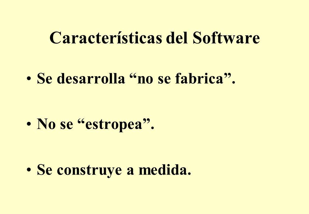 Características del Software Se desarrolla no se fabrica. No se estropea. Se construye a medida.