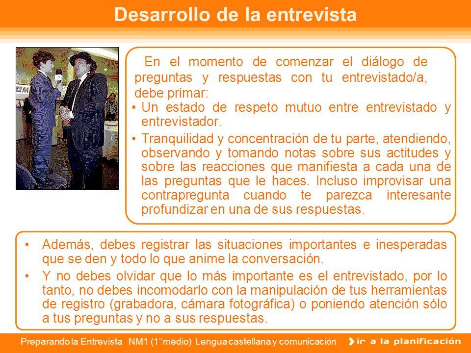 Preparando la Entrevista NM1 (1°medio) Lengua castellana y comunicación El lugar de la entrevista Supongamos que el objetivo de tu entrevista es hacer
