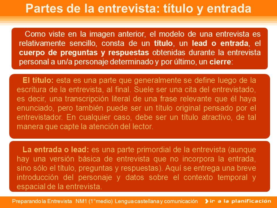 Preparando la Entrevista NM1 (1°medio) Lengua castellana y comunicación Modelo de entrevista A los 55 años, confiesa la simpática Laura Osses: Este es