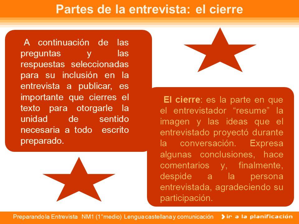 Preparando la Entrevista NM1 (1°medio) Lengua castellana y comunicación Partes de la entrevista: título y entrada Como viste en la imagen anterior, el