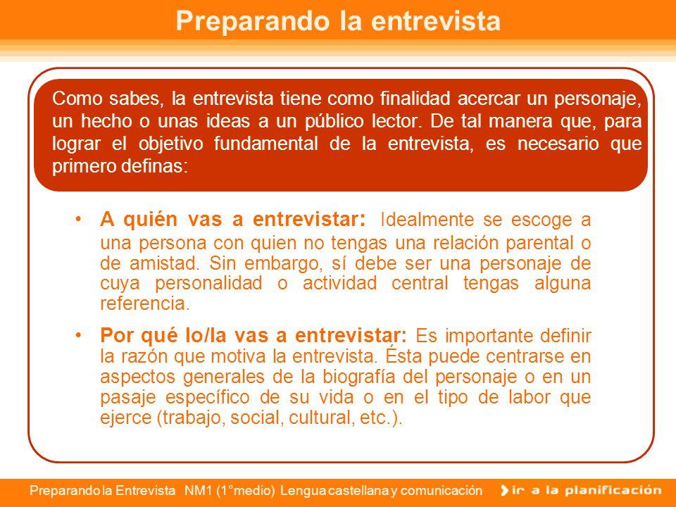 Preparando la Entrevista NM1 (1°medio) Lengua castellana y comunicación Las etapas de la entrevista Para llevar a cabo la elaboración de una entrevist