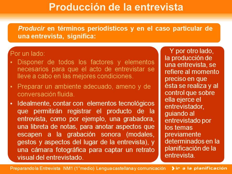 Preparando la Entrevista NM1 (1°medio) Lengua castellana y comunicación Al preparar el cuestionario de preguntas que le harás a tu entrevistado/a, deb
