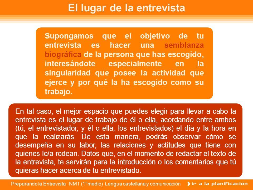 Preparando la Entrevista NM1 (1°medio) Lengua castellana y comunicación Producción de la entrevista Producir en términos periodísticos y en el caso pa