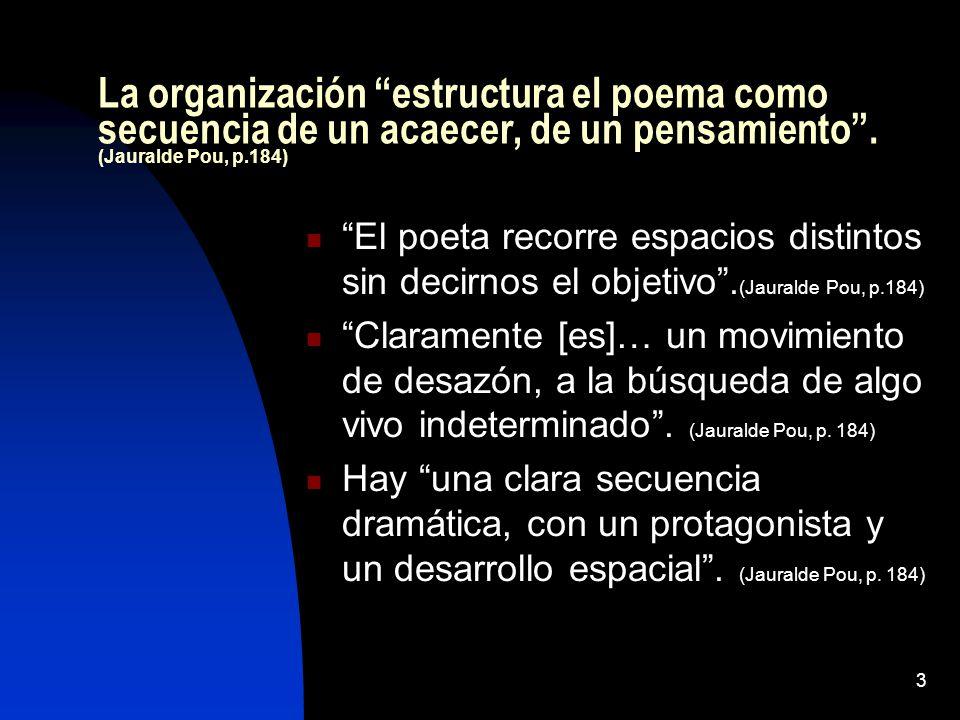 3 La organización estructura el poema como secuencia de un acaecer, de un pensamiento. (Jauralde Pou, p.184) El poeta recorre espacios distintos sin d