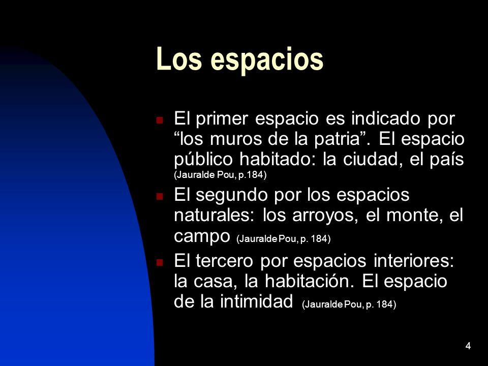 4 Los espacios El primer espacio es indicado por los muros de la patria. El espacio público habitado: la ciudad, el país (Jauralde Pou, p.184) El segu