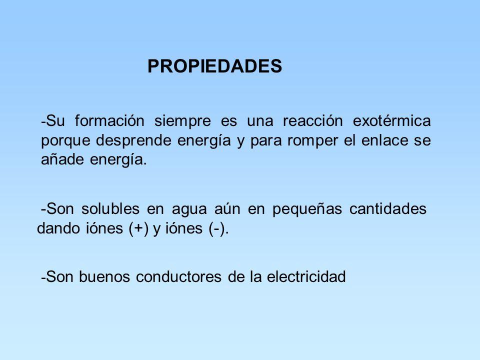 PROPIEDADES -Sus puntos de ebullición y fusión son elevados. -No son moléculas verdaderas sino redes cristalinas. -La distancia entre el ión (+) y el
