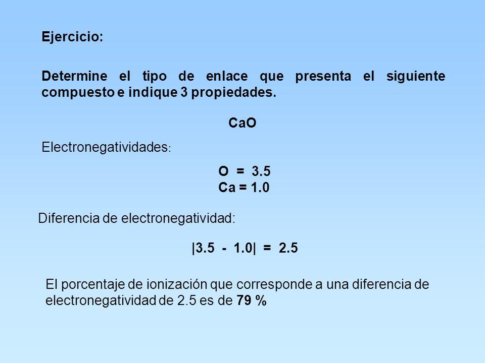 Ejercicio propuesto: ¿Qué tipo de enlace presenta el compuesto KI? K = 0.8 I = 2.5 K I 0.8 – 2.5 = 1.7 51% No es enlace iónico Tiende a un enlace ióni