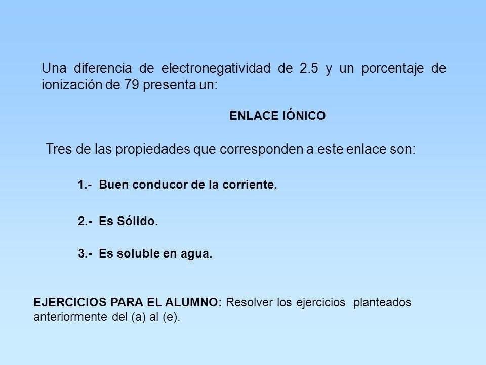 Determine el tipo de enlace que presenta el siguiente compuesto e indique 3 propiedades. CaO Electronegatividades : O = 3.5 Ca = 1.0 Diferencia de ele