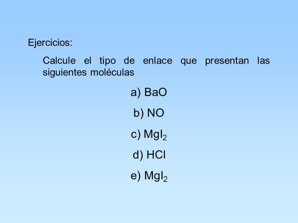 El enlace iónico se presenta cuando la diferencia de electronegatividades de los átomos es mayor de 2.0 y el porciento de ionización es mayor del 50%.