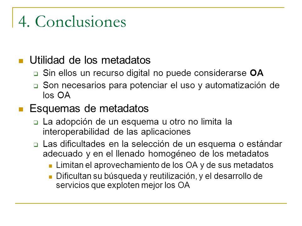 Utilidad de los metadatos Sin ellos un recurso digital no puede considerarse OA Son necesarios para potenciar el uso y automatización de los OA Esquem