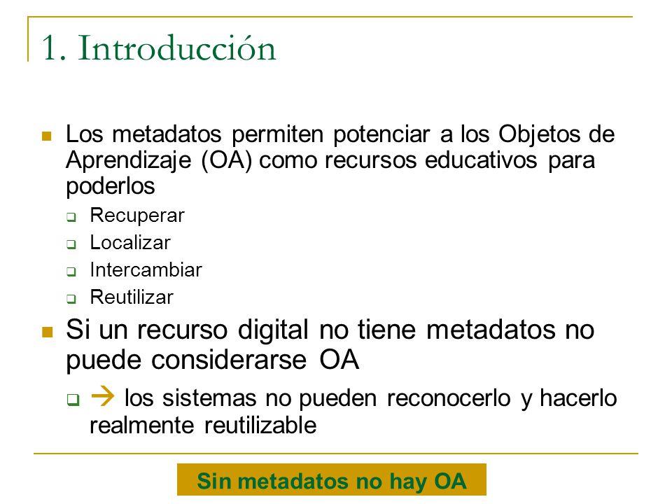 Los metadatos permiten potenciar a los Objetos de Aprendizaje (OA) como recursos educativos para poderlos Recuperar Localizar Intercambiar Reutilizar