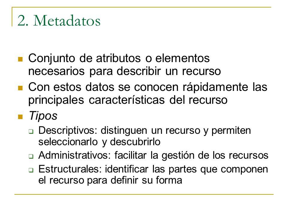 2. Metadatos Conjunto de atributos o elementos necesarios para describir un recurso Con estos datos se conocen rápidamente las principales característ