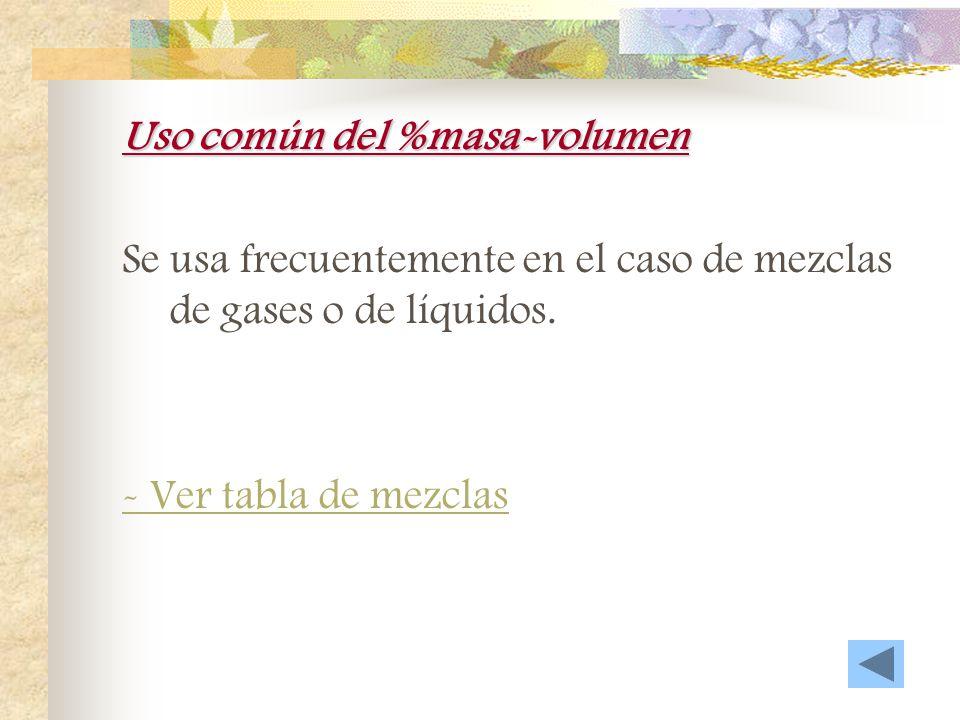 Uso común del %masa Se usa comúnmente en la resolución de problemas químicos en que se miden volúmenes de disoluciones