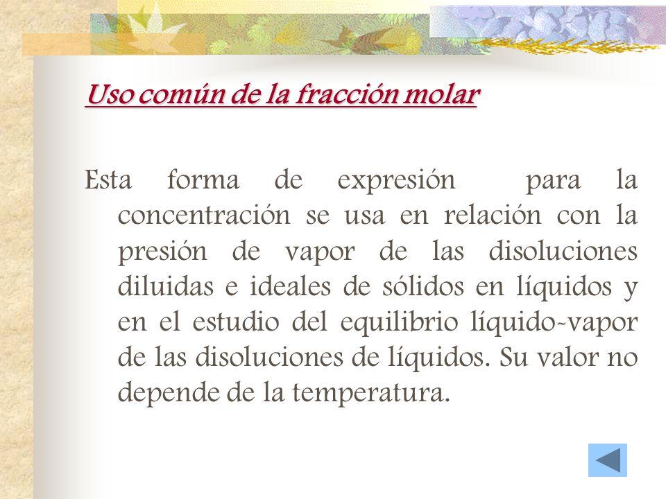 Uso común del %masa-volumen EjemplosNombres corrientes que reciben GasLíquidoNubes, brumasAerosoles líquidos GasSólidoHumosAerosoles sólidos LíquidoGa