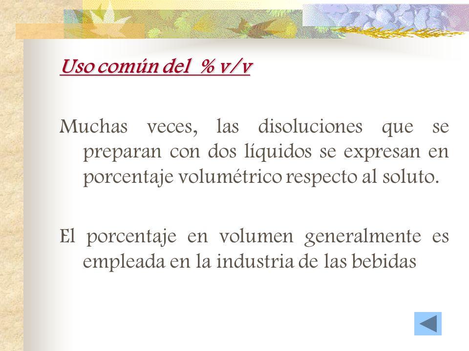 Tanto por ciento en volumen - volumen (%v/v) Es el volumen de un líquido en 100 [mL] de la disolución por 100. Uso común Simulación Ejercicio resuelto