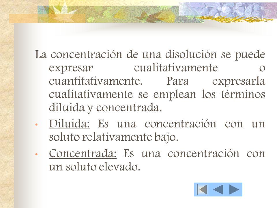 La concentración de una disolución se puede expresar cualitativamente o cuantitativamente.