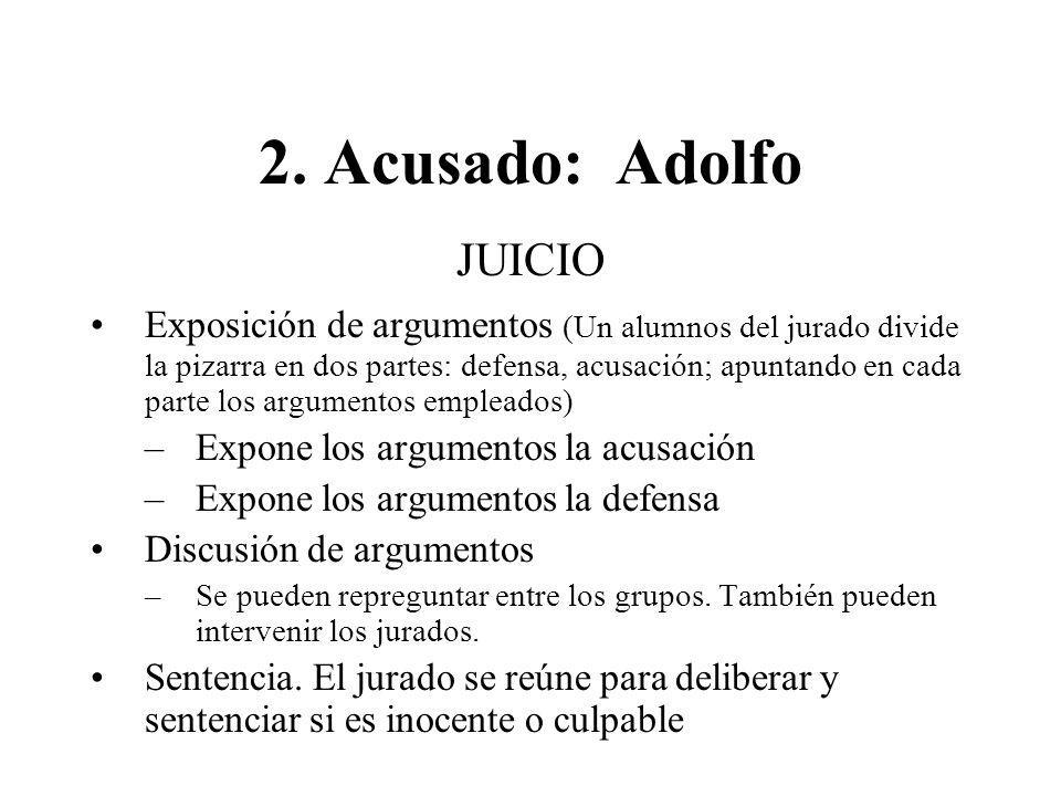 JUICIO Exposición de argumentos (Un alumnos del jurado divide la pizarra en dos partes: defensa, acusación; apuntando en cada parte los argumentos emp