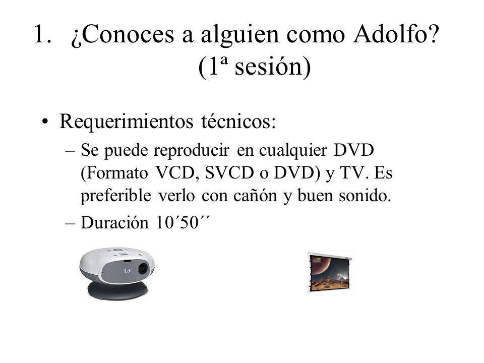 1.¿Conoces a alguien como Adolfo? (1ª sesión) Requerimientos técnicos: –Se puede reproducir en cualquier DVD (Formato VCD, SVCD o DVD) y TV. Es prefer
