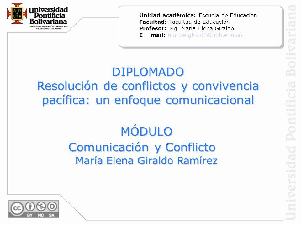 DIPLOMADO Resolución de conflictos y convivencia pacífica: un enfoque comunicacional MÓDULO Comunicación y Conflicto Comunicación y Conflicto María El