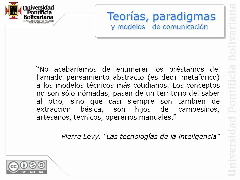 Teorías, paradigmas y modelos de comunicación Teorías, paradigmas y modelos de comunicación No acabaríamos de enumerar los préstamos del llamado pensa